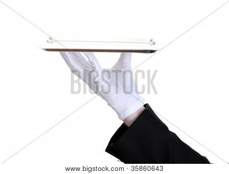 formal waiter with a silver tray isolated on white