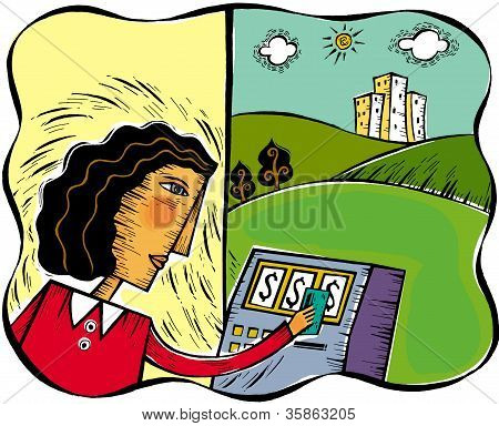 Illustration Of A Woman Using The Bank Machine