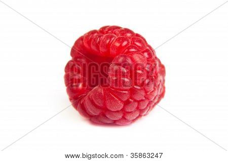 Single Fresh Raspberry, Isolated On  White. Close Up Macro Shot