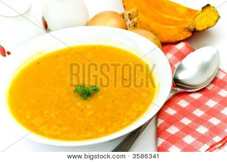 Stew-Soup With Pumpkin,Red Bell Pepper,Green Pea,Mixed Vegetable