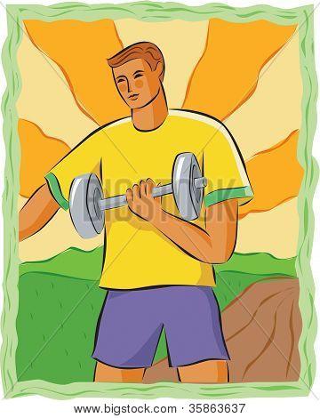 Drawing Of A Man Lifting Weights