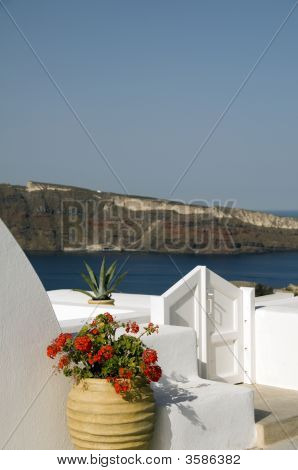 House Hotel With Plant Over Sea Santorini