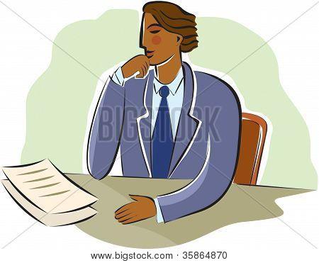 Businessman Pondering Documents