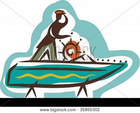 A Man Looking Out To The Sea While Steering His Boat On Land