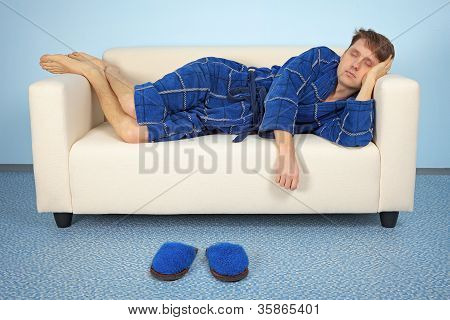 Man Is Resting At Home After Work