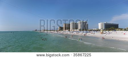 Panoramic view of Clearwater Beach, Florida - Image stitched from several photographs