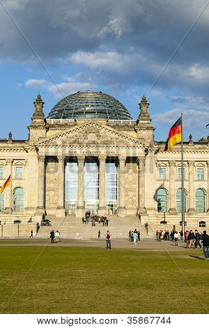 facade of famous german parliament, the Reichstag with clouds