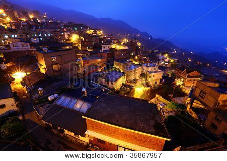 chiu fen village at night, in Taiwan