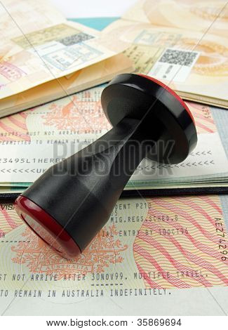 immigration visa and rubber stamp