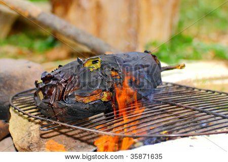 Eggplant Roasting In Flames