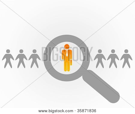 Person with a search symbol