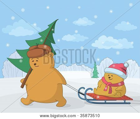 Teddy bears with a Christmas tree