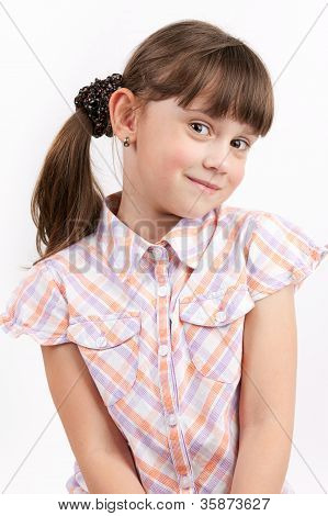 Little Funny Girl On Light Background