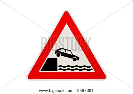 Danger Sign Car Falling In Water