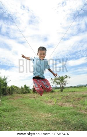 Toddle Jump At Field