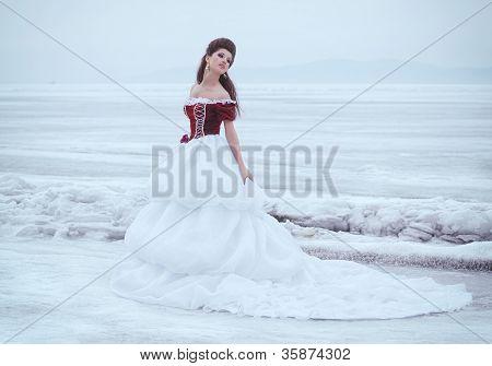 Hermosa morena con un vestido