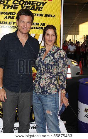 "LOS ANGELES - AUG 14:  Jason Bateman, Amanda Anka arrives at the ""Hit & Run"" Los Angeles Premiere at Regal Cinema on August 14, 2012 in Los Angeles, CA"