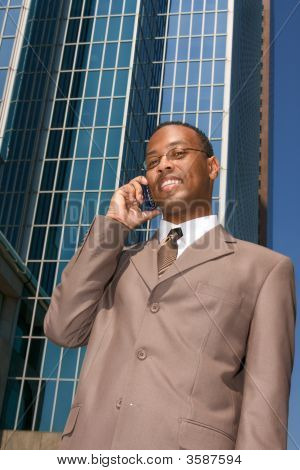 Businessman Doing Business Outside The Office
