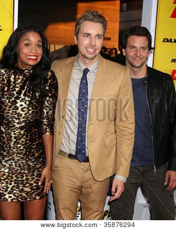 "LOS ANGELES - AUG 14:  Joy Bryant, Dax Shepard, Bradley Cooper arrives at the ""Hit & Run"" Los Angeles Premiere at Regal Cinema on August 14, 2012 in Los Angeles, CA"