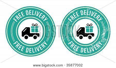 Free delivery retro grunge badge