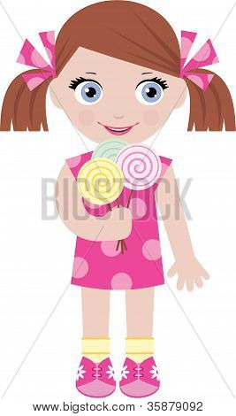 Little Girl With Sugar Candies