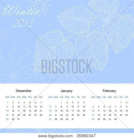 Winter calendar page of new 2013 year vector