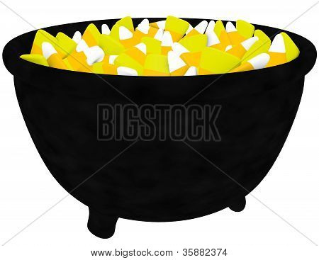 3D Render Of A Witches Cauldron Filled With Candy Corn Isolated On White