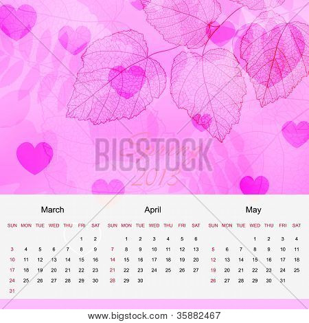Spring calendar page of new 2013 year vector