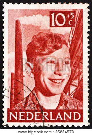 Estampilla Holanda 1951 Boy, chimeneas y acería
