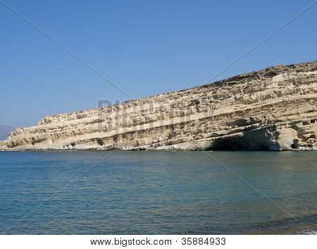 Coastline At Matala In Crete