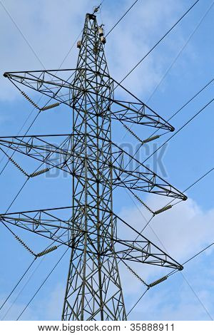 Electrical towers with cable wires