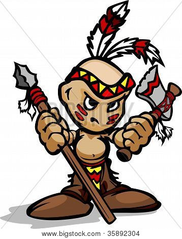 Tough Indian Kid With Feathers Holding Tomahawk And Spear Vector Cartoon Illustration