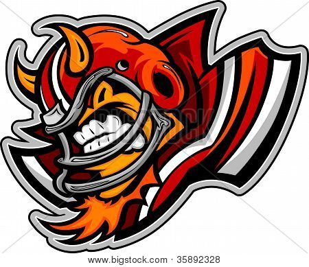 American Football Devil Mascot Wearing Helmet With Horns Vector Illustration