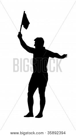 Sport Silhouette - Rugby Football Assistant Referee Holding Flag