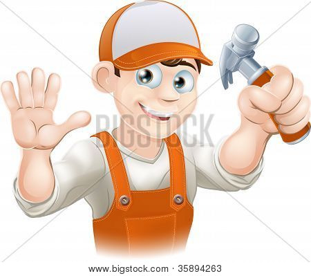 Carpenter Or Builder With Hammer