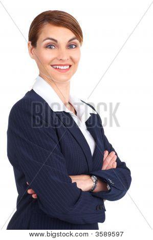 Sonriente mujer de negocios