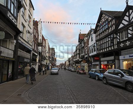 An Evening On Bridge Street In Chester