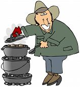 stock photo of dutch oven  - This illustration depicts a man cooking on three stacked dutch ovens - JPG