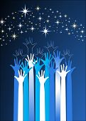 stock photo of reach the stars  - hands reaching for the stars - JPG