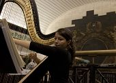 NEW YORK-JUL 28: Harpist Emily Hopkins performs in Penn Station on July 28, 2012 in New York, NY. Sh