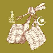 stock photo of jawi  - Hand Drawn Ketupat - JPG