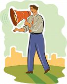 pic of swagger  - a businessman speaking through a large megaphone - JPG