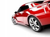 stock photo of showrooms  - A generic sport elegant red car illuminated - JPG