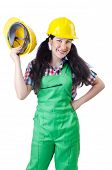 stock photo of hse  - Woman worker on white - JPG