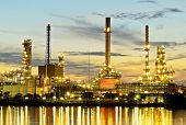 picture of greenpeace  - The Oil refinery in morning twilight time - JPG