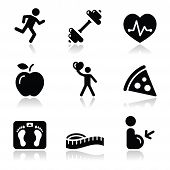 Health and fitness black clean icons set