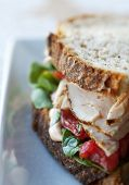 stock photo of chipotle  - Fresh turkey and vegetable sandwich on rustic whole grain bread - JPG