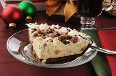 pic of toffee  - A slice of turtle pie and caramel toffee ice cream with coffee at Christmas time - JPG