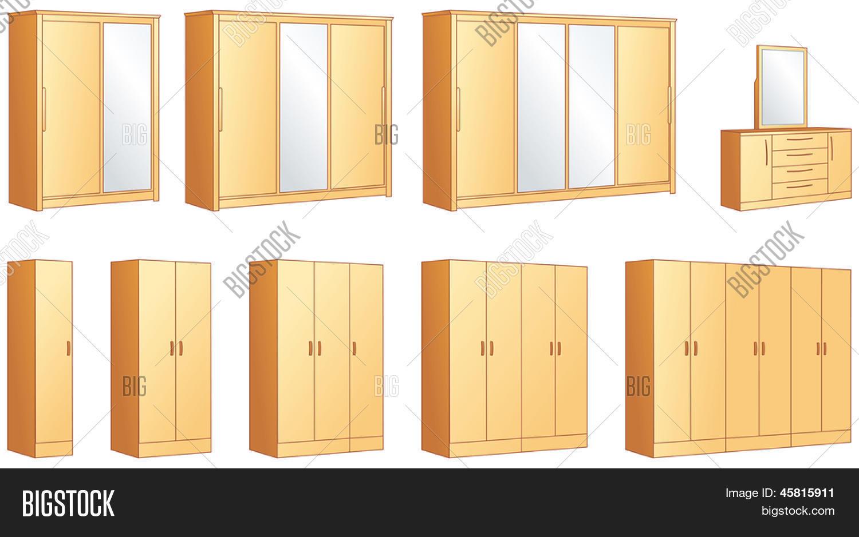 muebles del dormitorio armarios modulares y comoda vestidor con espejo objetos de ilustracin vectorial