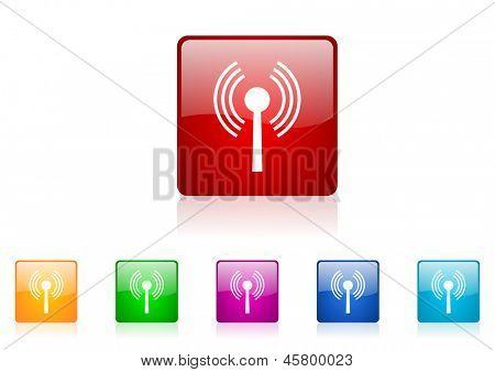 WiFi cuadrado colorido conjunto de web icono brillante